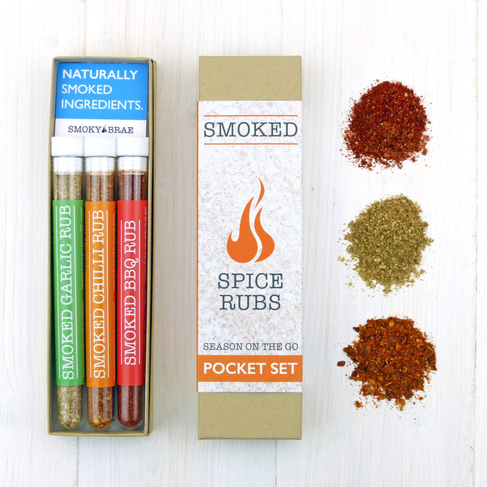 Smoked Spice Blends Collection Pocket set for seasoning food while travelling, camping, caravanning and Beach BBQ's by Smoky Brae