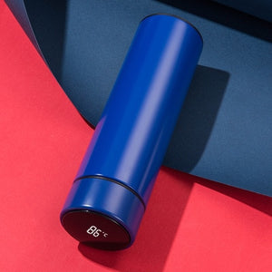 Blue Digital Thermos Bottle
