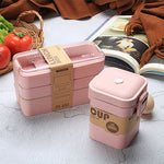 pink Wheat Straw Lunch Set