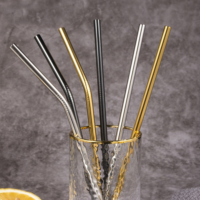 Reusable Stainless Steel Straws in a Glass