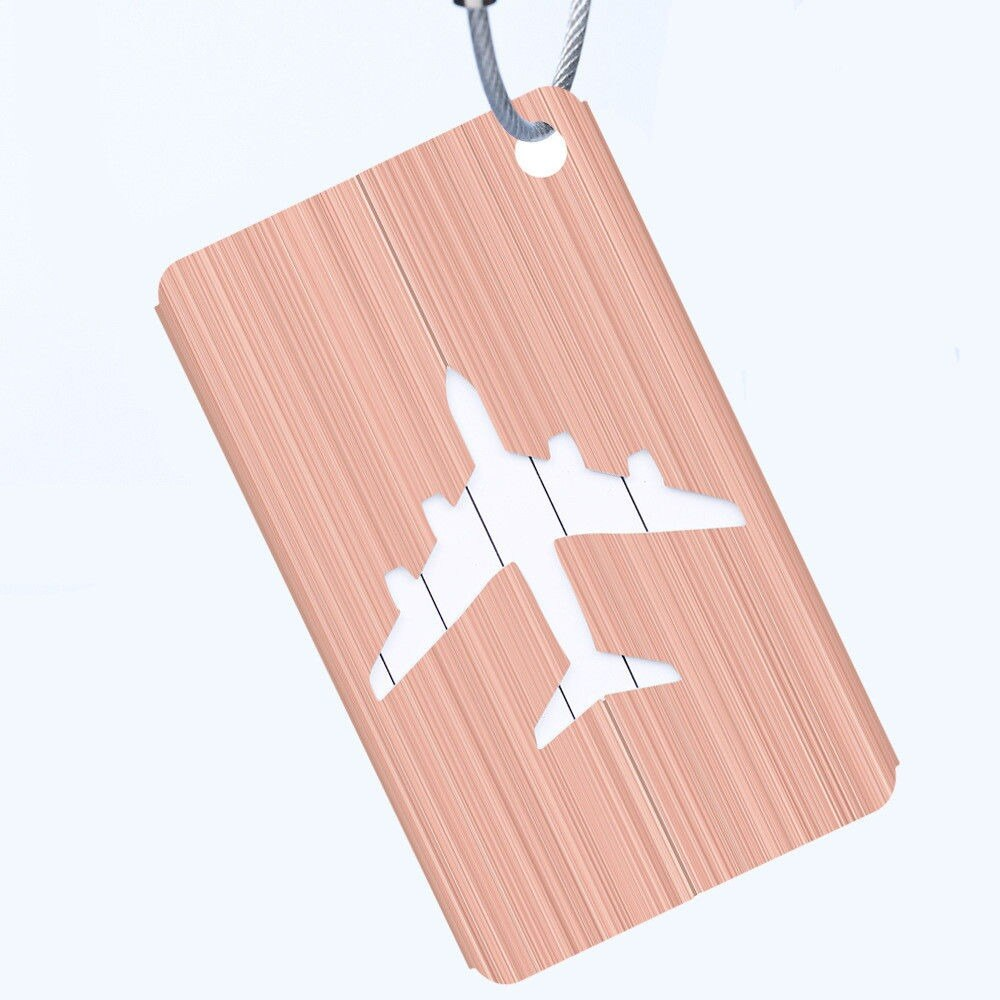 orange aluminium luggage tag