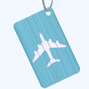 light blue aluminium luggage tag