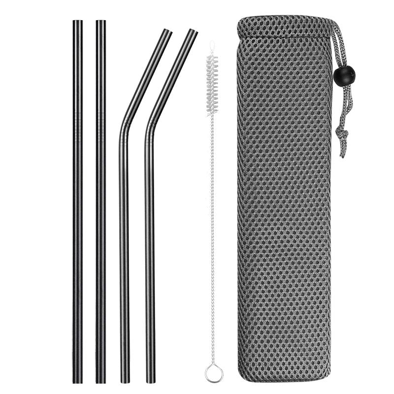 Black Reusable Stainless Steel Straws with Case