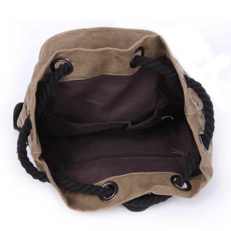 Canvas Drawstring Rucksack open view