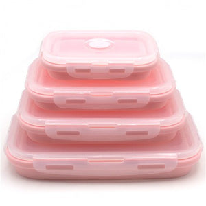 pink pack of 4 Collapsible Food Containers folded