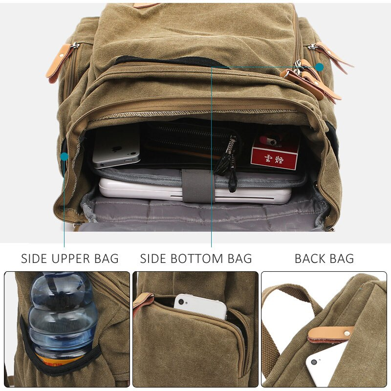 Classic Canvas Backpack Inside and Pocket View