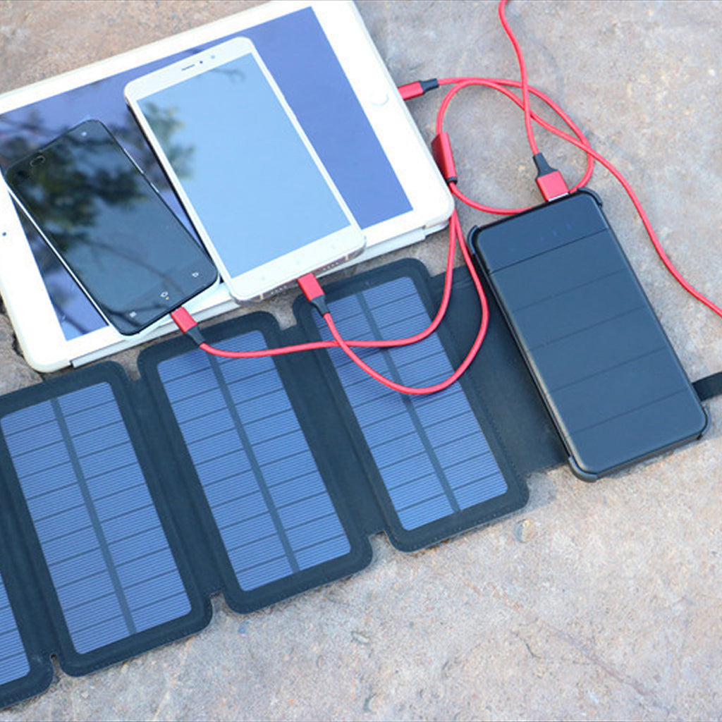 Solar Powered Battery Bank Connected to Phones