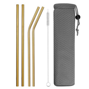Gold Reusable Stainless Steel Straws with Case