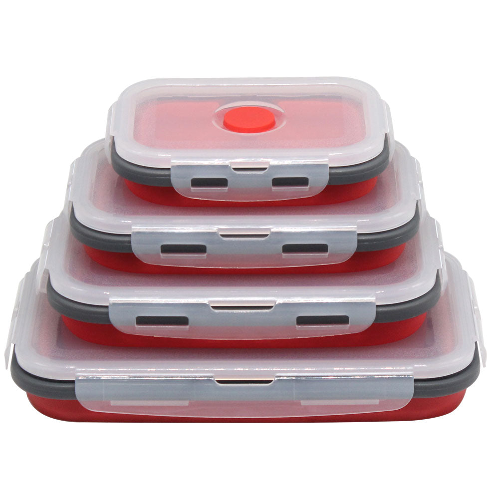 red pack of 4 Collapsible Food Containers folded