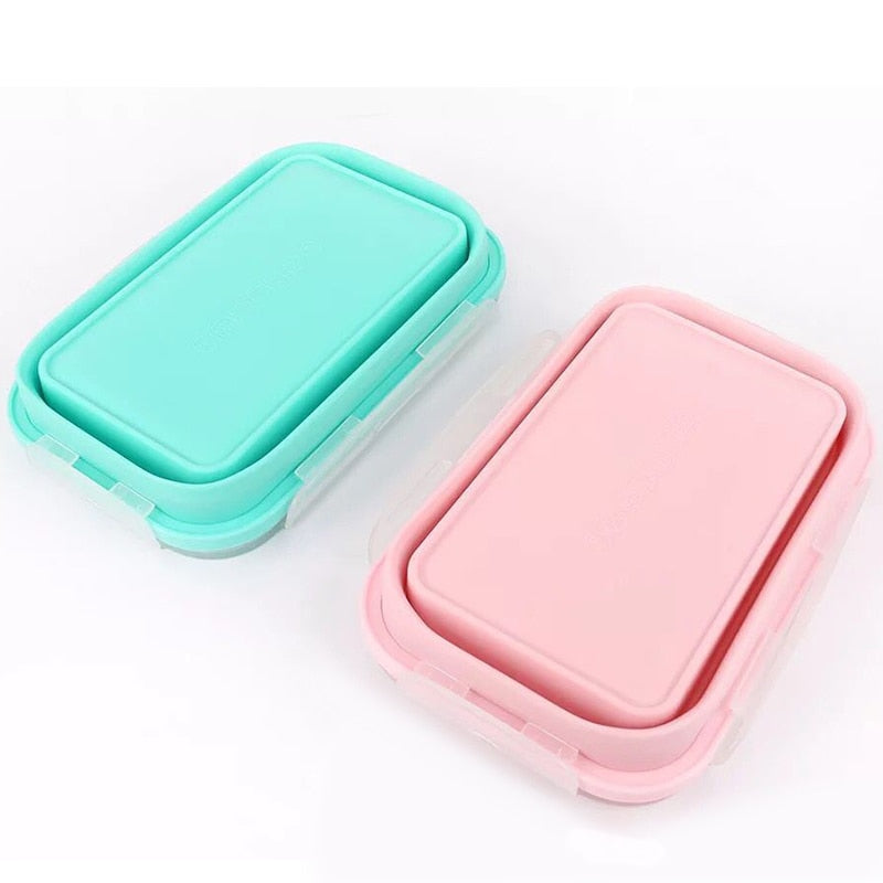 blue and pink Collapsible Food Containers folded
