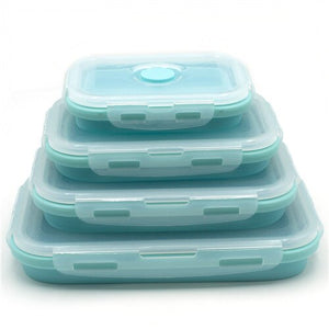 blue pack of 4 Collapsible Food Containers folded