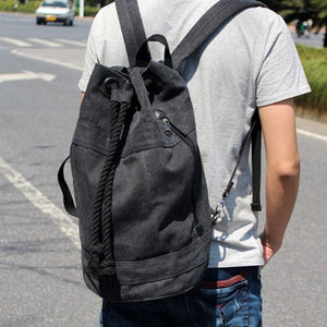 Canvas Drawstring Rucksack black live