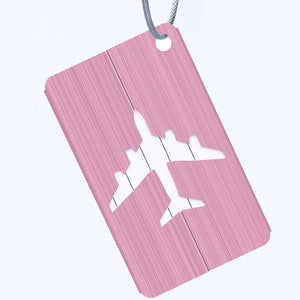 pink aluminium luggage tag