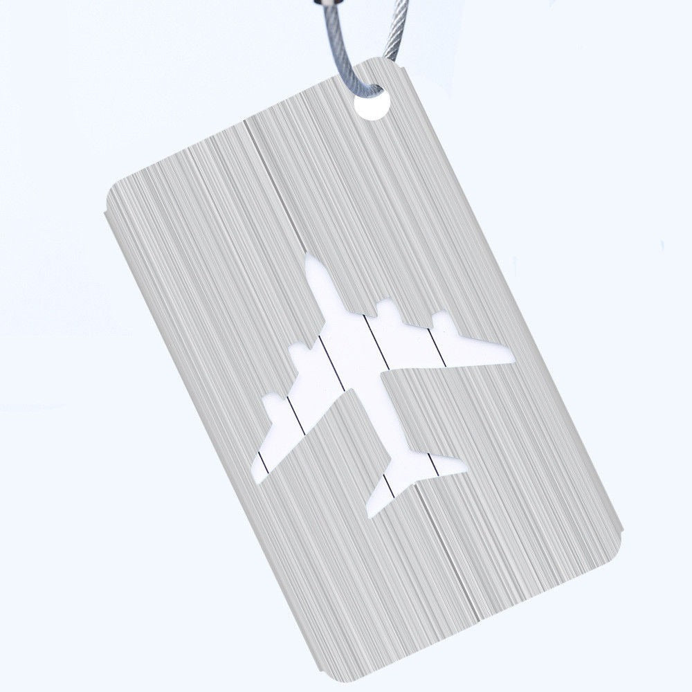 light grey aluminium luggage tag