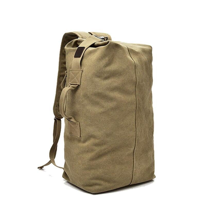 Medium Khaki Canvas Travel Rucksack front view