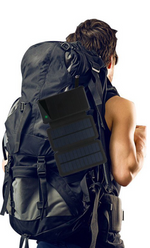 Solar Powered Battery Bank Attached to Backpack