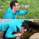 man drinking with Portable Water Filter Straw