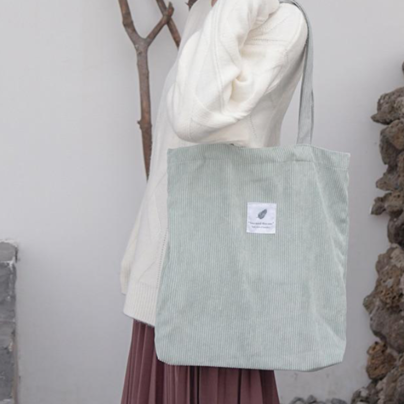 Light Green Corduroy Shopping Bag