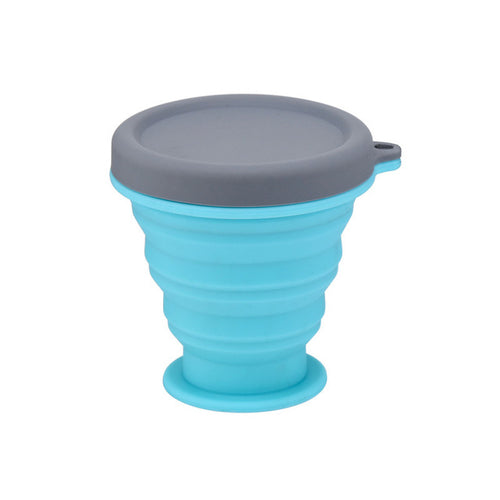 blue Collapsible Silicone Cup