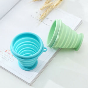 blue and green Collapsible Silicone Cup without lid