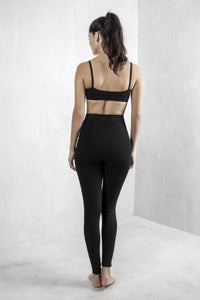 Black High Waist Leggings Organic Cotton Lycra - Maha Loka