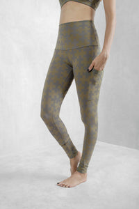 Printed High Waist Leggings Organic Cotton Lycra - Maha Loka