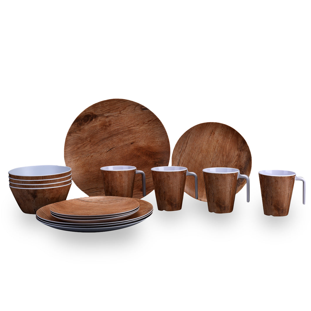 Melamin Geschirr-Set in Teak-Holz Optik