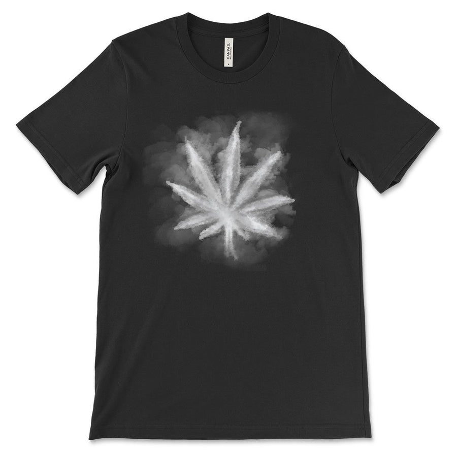 Smoky leaf weed design shirt black