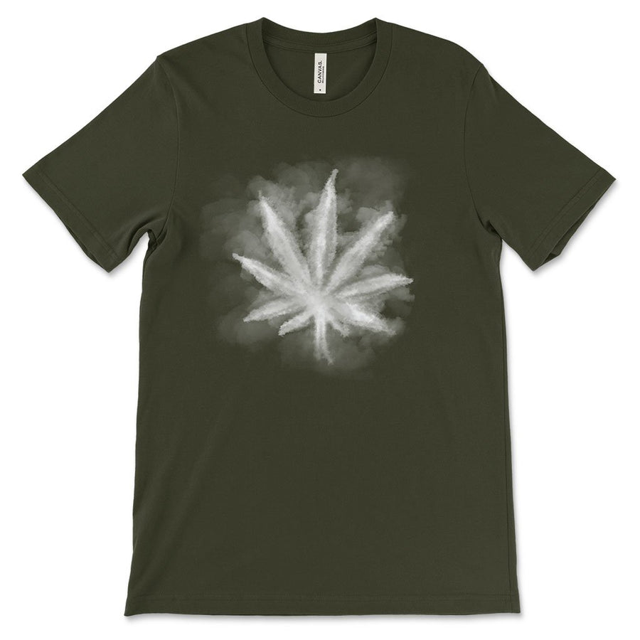 Smoky leaf weed design shirt  dark olive