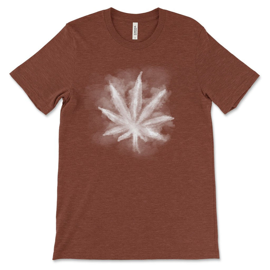 Smoky leaf weed design shirt heather clay