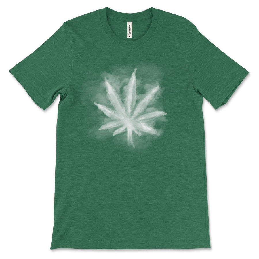 Smoky leaf weed design shirt heather grass green