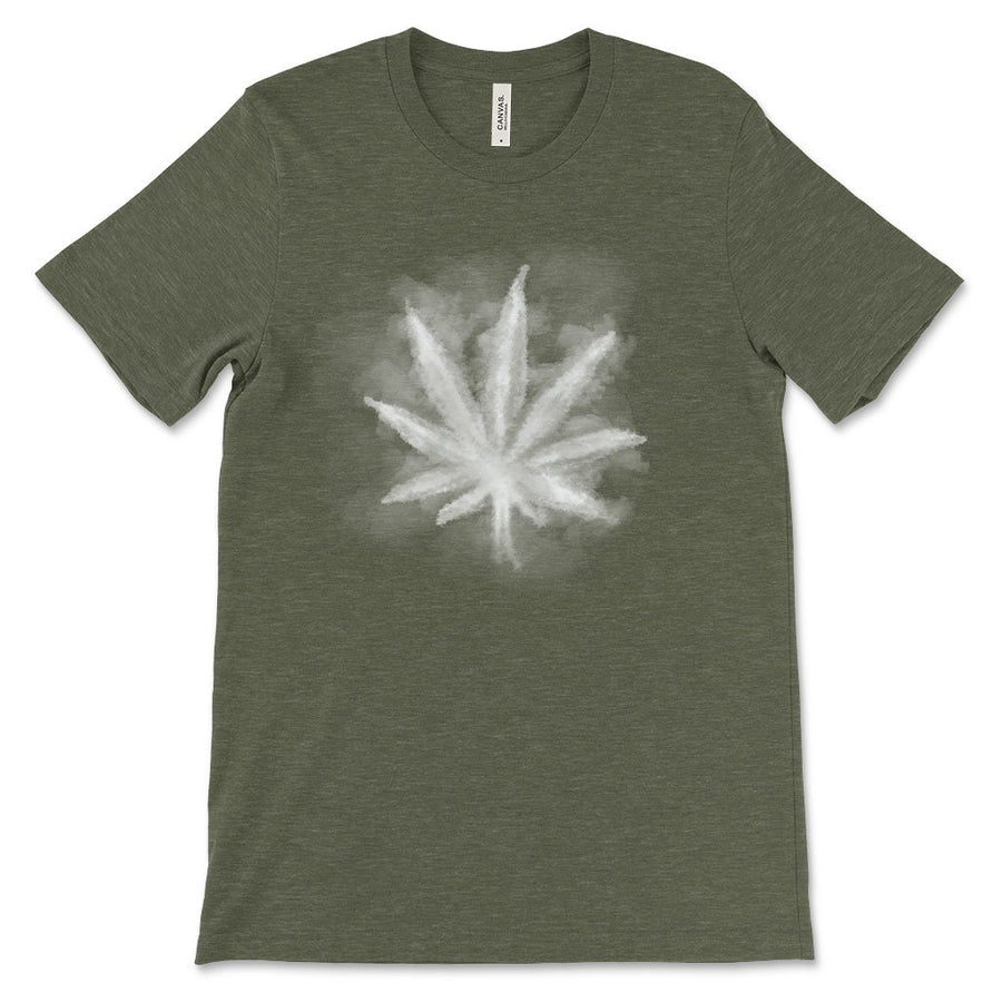 Smoky leaf weed design shirt military green