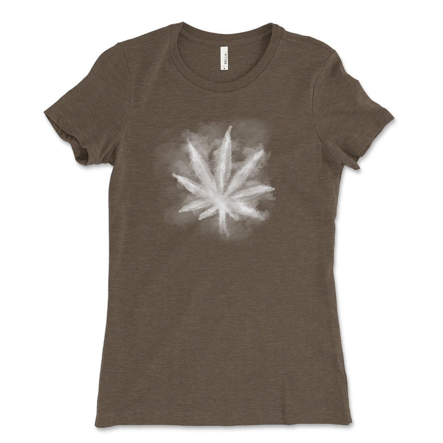Smoky leaf weed design shirt heater brown