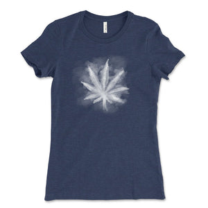 Smoky leaf weed design shirt heather navy