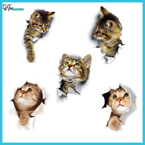 3D Cats Wall Stickers (5 pieces)