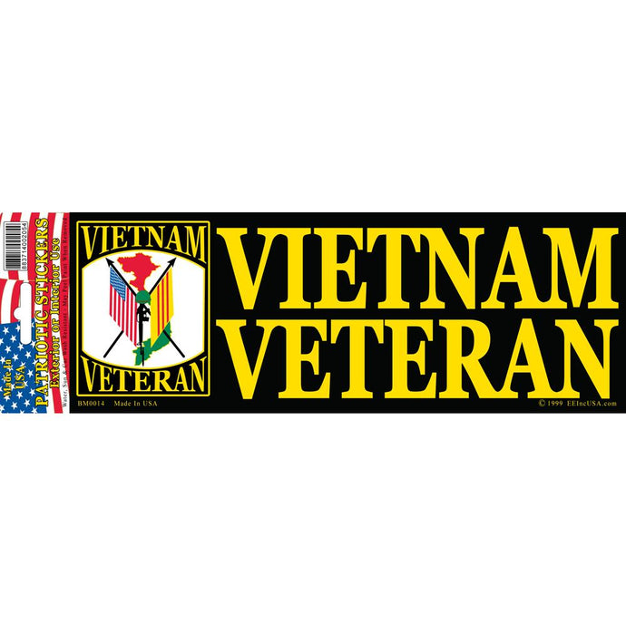 VIETNAM, VETERAN, FLAG BUMPER STICKER
