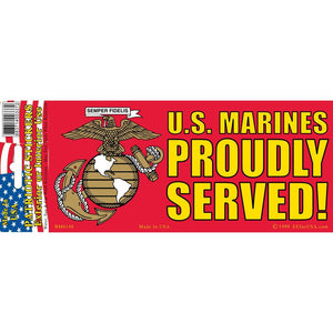 US MARINE CORPS LOGO, PROUDLY SERVED BUMPER STICKER