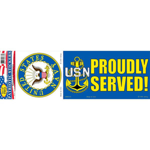 US NAVY LOGO, PROUDLY SERVED ANCHOR BUMPER STICKER