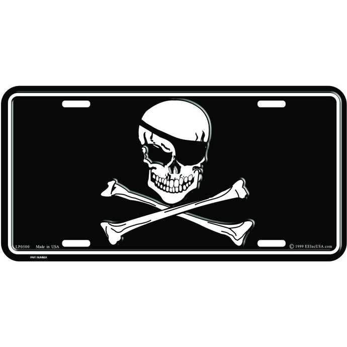 JOLLY ROGERS SKULL AND BONES LICENSE PLATE