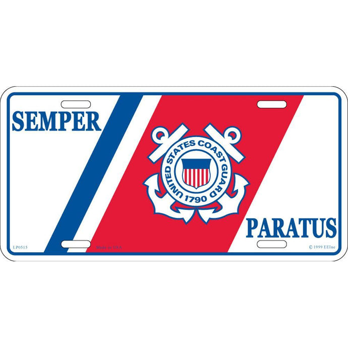 US COAST GUARD LOGO, SEMPER PARATUS LICENSE PLATE
