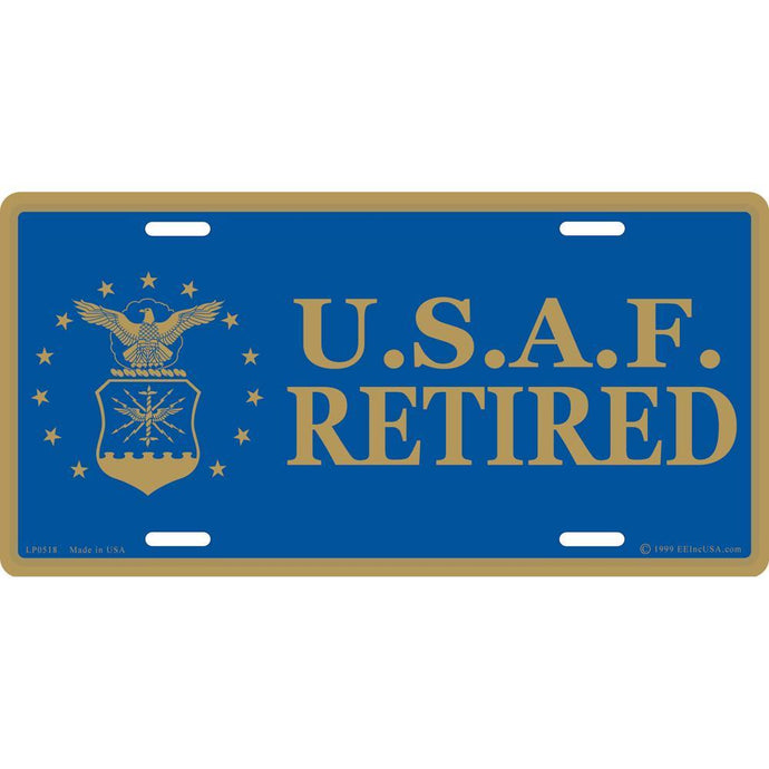 US AIR FORCE EMBLEM, RETIRED LICENSE PLATE