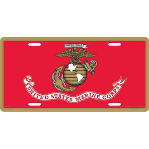 US MARINE CORPS LOGO, FLAG LICENSE PLATE