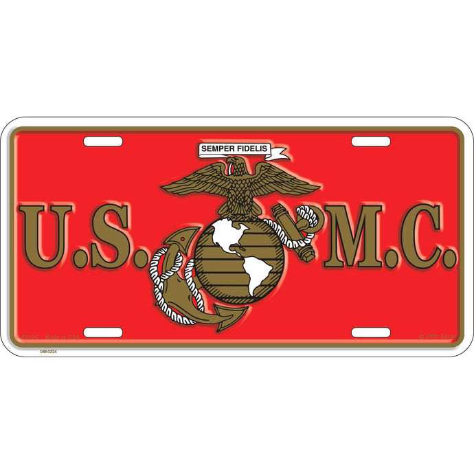 US MARINE CORPS LOGO LICENSE PLATE