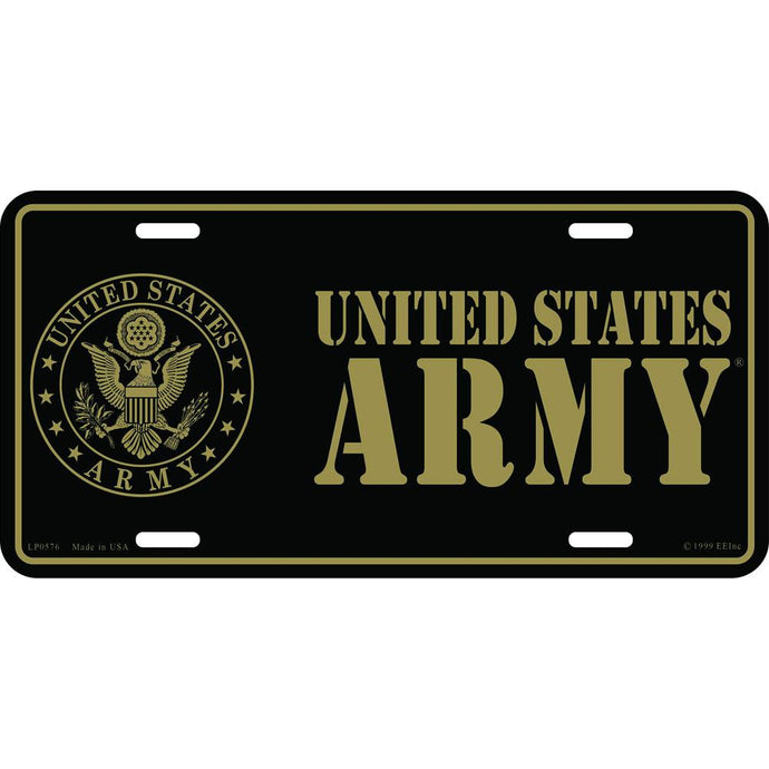 ARMY SYMBOL, GOLD LICENSE PLATE