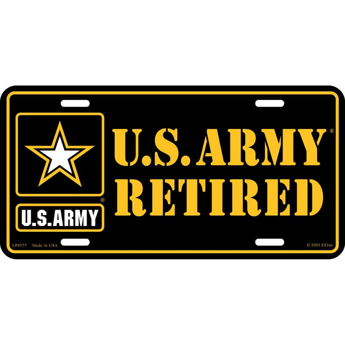 ARMY LOGO, RETIRED LICENSE PLATE