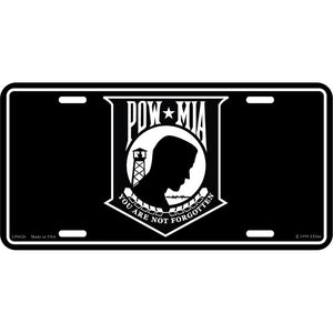 POW*MIA, WHITE LICENSE PLATE