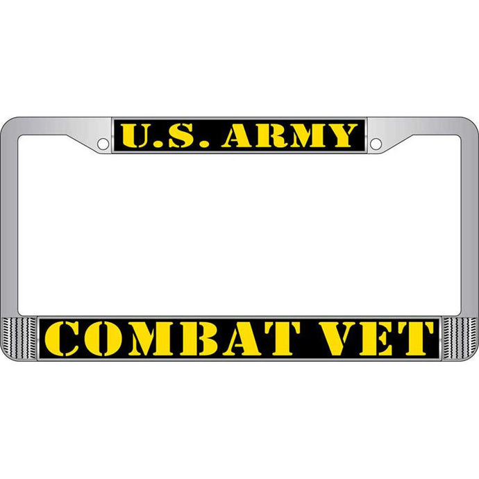 ARMY, COMBAT VETERAN CHROME LICENSE PLATE FRAME