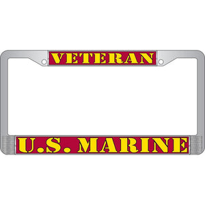 US MARINE CORPS VETERAN CHROME LICENSE PLATE FRAME
