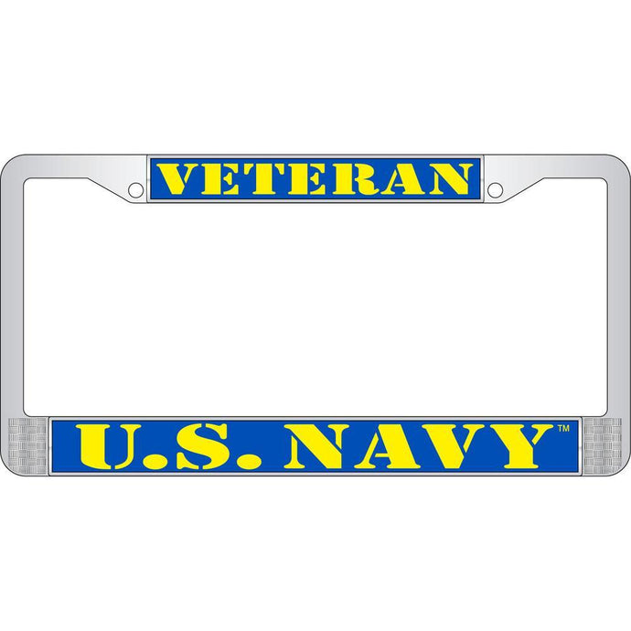 US NAVY VETERAN CHROME LICENSE PLATE FRAME