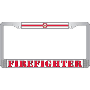 FIREFIGHTER CHROME LICENSE PLATE FRAME